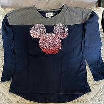 Gap Disney Mickey Sequin Long Sleeve Top T-Shirt Girls Navy Blue Size 8 (M) Photo