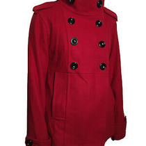 Gap Double Breasted Wool Pea Coat With High Collar Red Womens Size Xs Photo