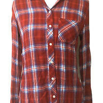 Gap Drapey Red Plaid Button Front Top Sz Xs Viscose Long Sleeve Photo