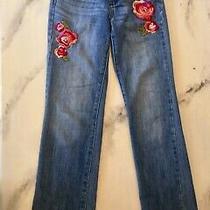 Gap Embroidered Flower Jeans Girls Size 10 Adjustable Waist Straight Leg Photo