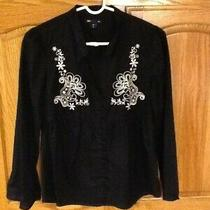 Gap Embroidered Front Blouse Top Empire Waist Button Down Size Xs Black Euc Photo