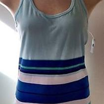 Gap Fit Athleta Cool Racerback Workout Tank Bali Blue Stripe Nwt S6 in Lulu Photo