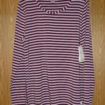 Gap Fit Shirt Xl Womens Long Sleeve Top Plum Stripe Stretch Breathable Nwt 32 Photo