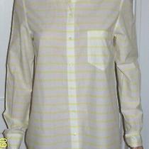 Gap Fitted Boyfriend White & Yellow Horizontal Stripe Long Sleeve Shirt Size Med Photo