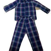 Gap Flannel Girls Pajamas 5 Plaid Navy Pjs  Photo