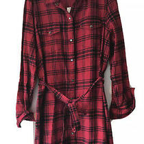 Gap Flannel Womens Button Down Plaid Dress- red&black- Size L- Nwt Fast Ship Photo