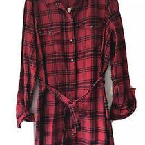 Gap Flannel Womens Button Down Plaid Dress- red&black- Size L- Nwt Fast Ship Photo