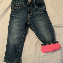 Gap Fleece Lined Baby Girl Jeans 6-12 Mo Photo