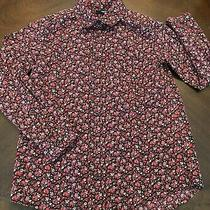 Gap Gapkids Burgundy Floral Long Sleeve Sleeve Button Down Shirt Top M 8-9 Yrs Photo