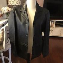 Gap Genuine Black Leather Coat Blazer Style Button Front Euc Size Large Photo