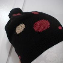 Gap Girl Black Red Tan Polka Dot Dottie Knit Pom Hat Cap Snow Ski Winter S M Nwt Photo