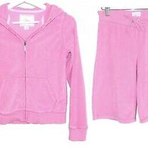 Gap Girl's Terry Cloth Pink Zip Up Hoodie and Pants Size L (12) Photo