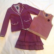 Gap Girls Burgundy Jacket Skirt Vest 3 Piece Set Sz 8/7/8 Photo