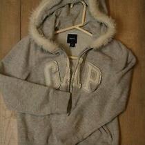 Gap Girls Gray Faux Fur Trimmed Hoodie Size 10 Guc Photo