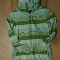 Gap Girls Green Striped Hoodie Size l(10) Guc Photo