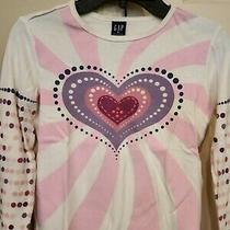Gap Girls Heart T-Shirt Top Pink/white Long Sleeve Sze Medium Excellent Conditon Photo