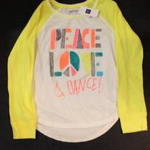 Gap Girls Size 6-7 Long Sleeve Shirt Nwt Fall Summer  Peace Love Dance Cute Photo