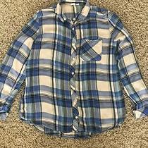 Gap Girls Sz Xxl 14-16 Blue Plaid Long Sleeved Shirt Photo