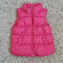 Gap Girls Zip Up Pink Puffy Vest W/ White Polka Pockets Fleece Lining Sz 18-24m Photo