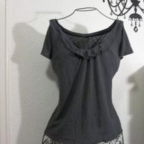 Gap Gray Ruffle Neck Top Cap Sleeve Small - Very Good Condition Photo