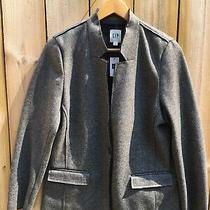 Gap  Gray Wool Blend 1 Button Knit Style Blazer Jacket Womens Size L Petite Nwt Photo