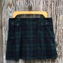 Gap Green Multi Tartan Plaid Pleated Mini Skirt Size 12 Photo
