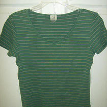 Gap Green Stripe Short Sleeve Blouse Size Medium L306    Free Shipping Photo