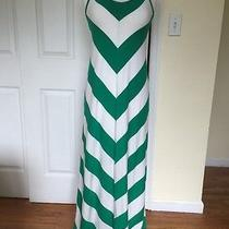 Gap Green / White Chevron Strip Maxi Dress Medium Photo
