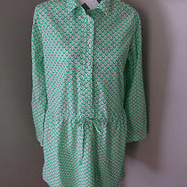 Gap Green White Print Cotton Shirtdress Medium  Photo