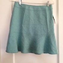 Gap Heathered Aqua Fluted Wool Skirt -4- Nwt Photo
