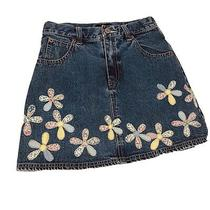 Gap High Waisted Denim Jean Floral Embroidered Skirt Size 12 Girls Photo