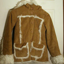Gap Hooded Brown Shearling Sheep Faux Fur Furry Girl's Coat Jacket Xl 12 Mint Photo