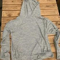 Gap Hooded Sweatshirt Soft Blend White Black Stripes Medium Photo