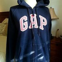 Gap Hoodie Jacket Embroidered Logo Womens Size L Navy Blue Photo