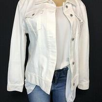 Gap Ivory Button Up Basic Denim Jacket Womens Size Xl Casual Cotton Stretch Tops Photo