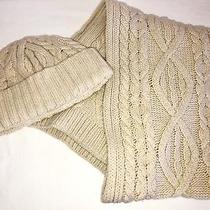 Gap Ivory Cableknit Hat and Scarf Lambswool Photo