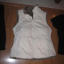 Gap Ivory Sleeveless Full Front Zip 2 Pock Brown Faux Fur Reversible Vest  M Photo