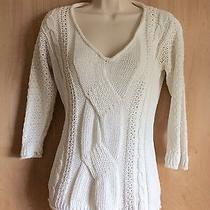 Gap Ivory v-Neck Cable Knit Cotton Sweater Women's S Photo