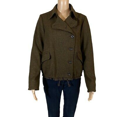 GAP Jacket Brown 100% Wool Asymmetrical Button Front Pockets Lined Size Medium  Photo