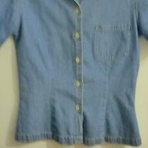 Gap Jean Short Sleeve Women's Button Up Shirt Size Small Photo