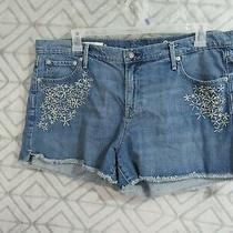 Gap Jean Shorts Size 34 Blue Embroidery Flowers Flat Front Button Zipper Pockets Photo