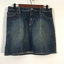 Gap Jean Skirt Women Size 4 Medium Wash Blue Denim a Line With Pockets  Photo