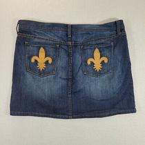 Gap Jeans Women Blue Jeans Skirt Size 14 Embroidered Pockets  Stretch  Photo