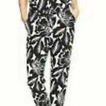 Gap Jumpsuit Black White Floral Print Drawstring Waist Tapered Leg Size S Photo