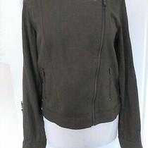 Gap Khaki Diagonal Zip Linen/viscose Jacket Zip Pockets Size S Photo