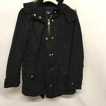 Gap Khaki Hooded Jacket Coat Womens Size Xs 2 Pockets Zip Button Fur Lined Hood Photo