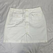 Gap Khakis Size 6 Skirt Short Button Front White Unlined Button Pockets Photo