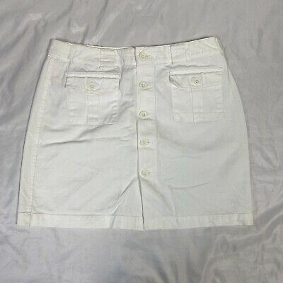 Gap Khakis Size 6 Skirt Short Button Front White Unlined Button Pockets Photo