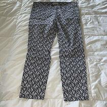 Gap Khakis Slim City Navy Blue & White Zig Zag Print Cropped Pants Womens Size 8 Photo