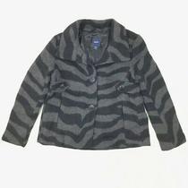 Gap Kids Animal Print Wool Blend Coat Girls Size Xxl Black Gray Button Down Photo